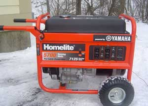 A yamaha portable generator in the snow